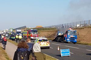 The vehicles are recovered from the scene of the accident on the A259 at Roedean.  Picture: Terry Applin