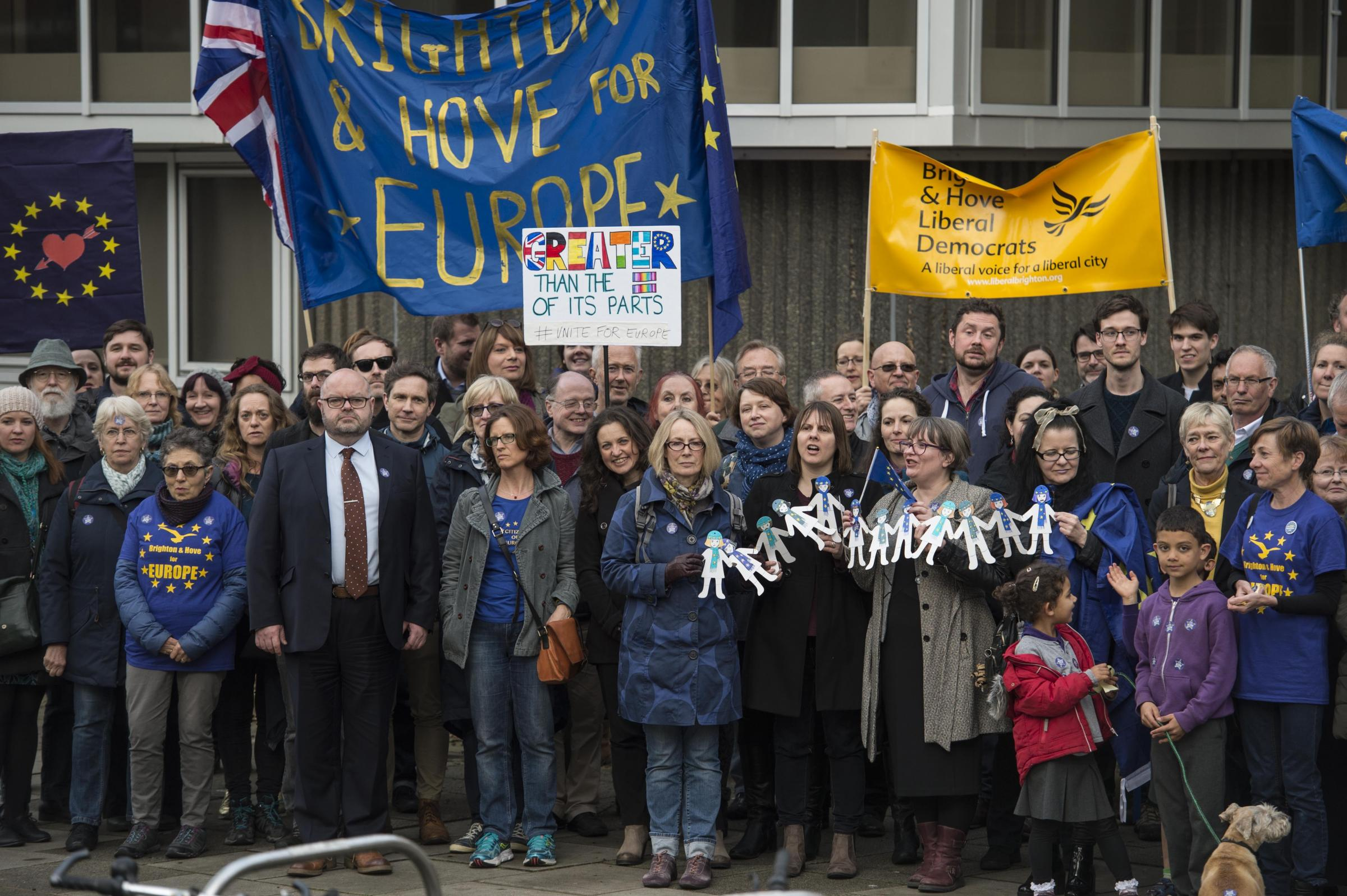Pro-Europe campaigners demonstrate outside Hove Town Hall