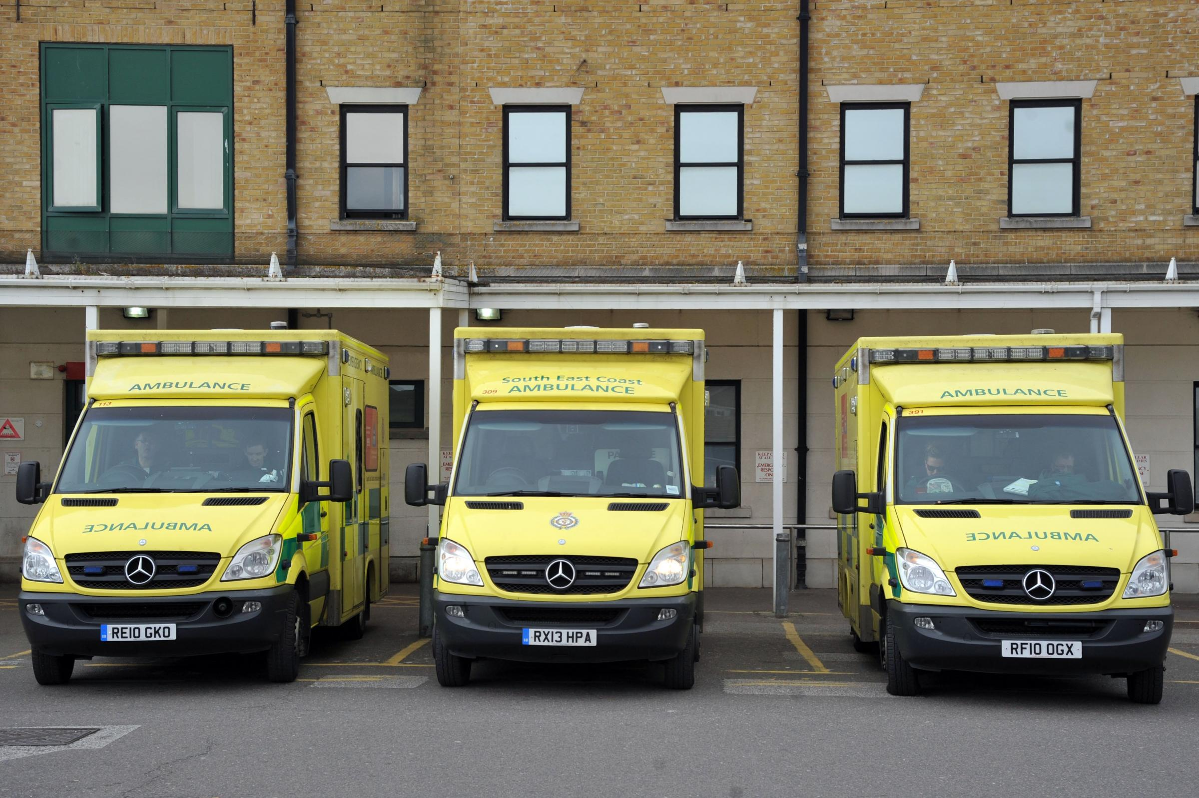 Ambulance outside the A&E department at the Royal Sussex County Hospital in Brighton