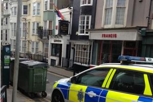 Police attend the Marine Tavern in Broad Street on Wednesday following an assault on Tuesday evening