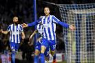 Glenn Murray celebrates after firing Albion into an early lead against Birmingham at the Amex last night
