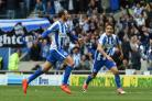 Glenn Murray celebrates his 19th Amex League goal of the season against Wigan on Easter Monday