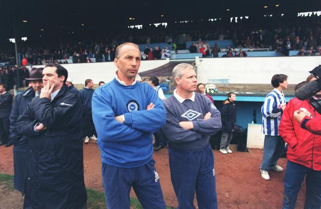 Steve Gritt with physio Malcolm Stuart (right) at the last game at the Goldstone