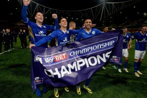 Anthony Knockaert celebrates the Championship title with Licester - after Albion kept the Champagne on ice
