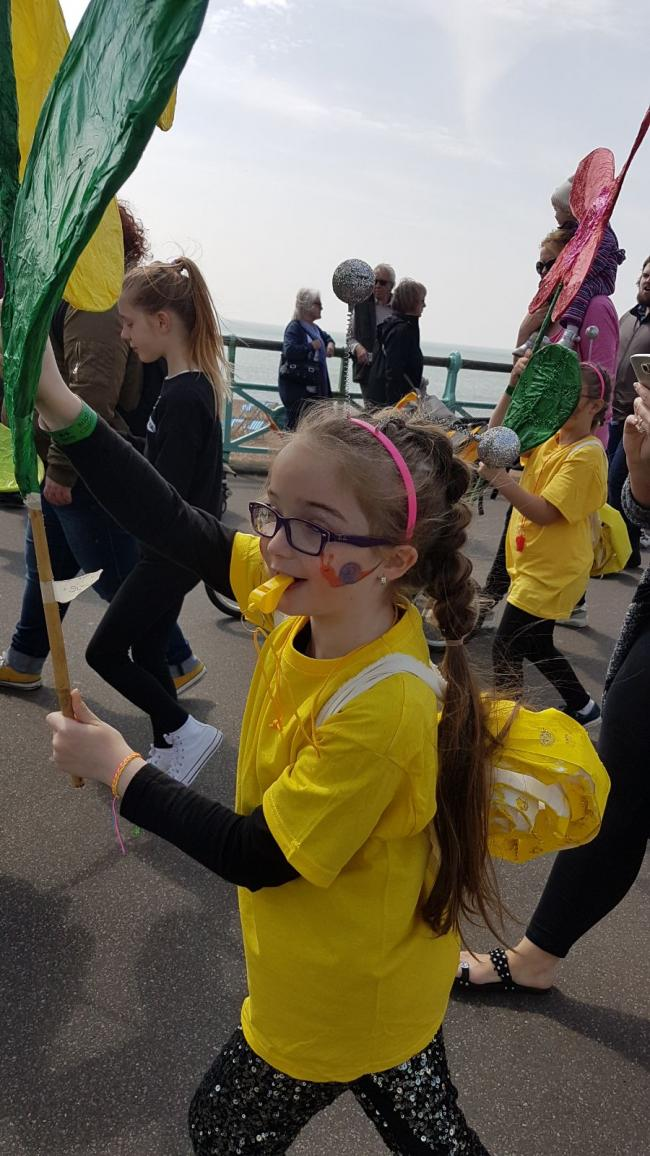 Lucie-lee Catlin - Coombe Road School Enjoying the parade with her friends and teachers!