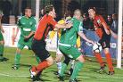 Eastbourne Borough put the Forest Green goal under pressure