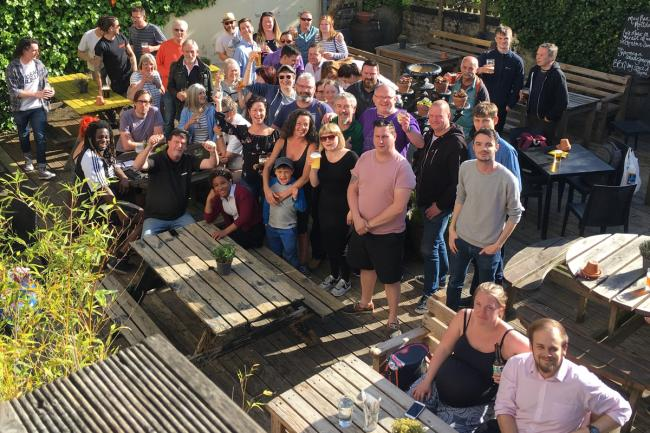 A group of residents gather in The Signalman beer garden to object to the plans