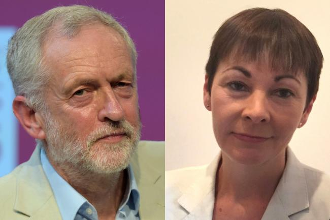 Labour leader Jeremy Corbyn, left, and Green Party joint leader Caroline Lucas