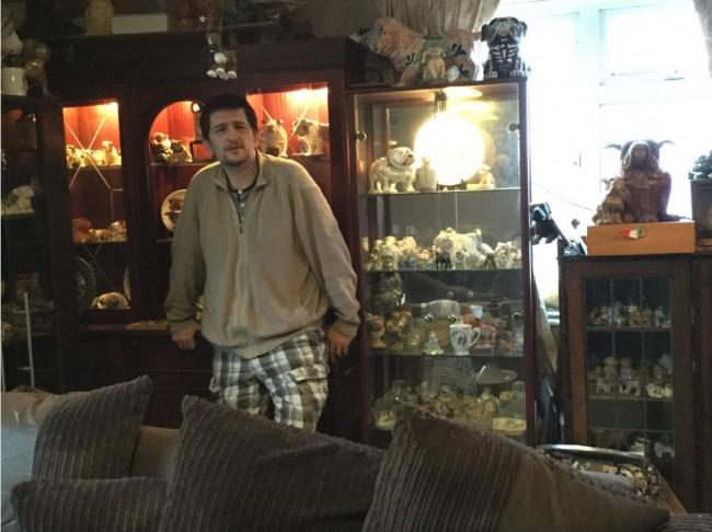Eiffion Ashdown and his vast collection of bulldog figurines