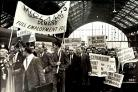 Car Workers arrive at Brighton Station to demonstrate at the 1966 Labour Party Conference