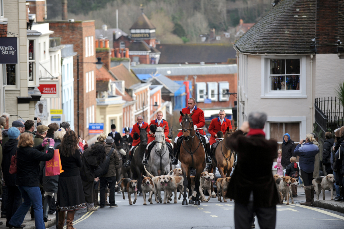 Hundreds of people turned out to see the traditional Boxing Day hunt pass through Lewes.  Picture: Simon Dack