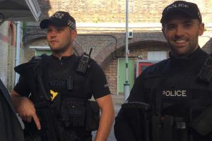 Armed officers at Lewes Railway Station this morning.  Picture: Emma Fielding