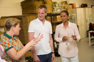 Kathy Caton, founder of Brighton Gin, with Peter Kyle and Gina Miller.  Picture: James Gillham/StillMoving.net