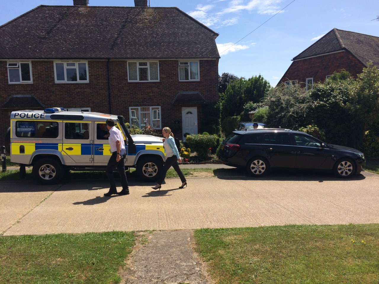 Police at the scene in Oaklands, Ardingly