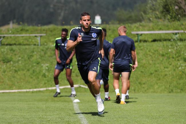 Tomer Hemed, training with Albion in Austria last week. Picture Paul Hazlewood