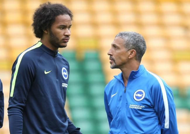 Chris Hughton with summer loan signing Izzy Brown