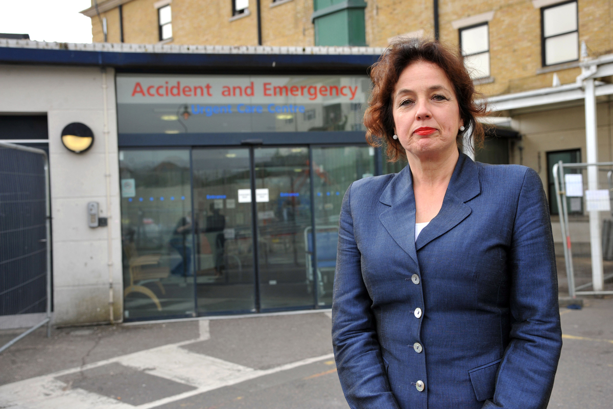 Chief executive Marianne Griffiths outside of the Emergency Department of Royal Sussex County Hospital, Brighton..