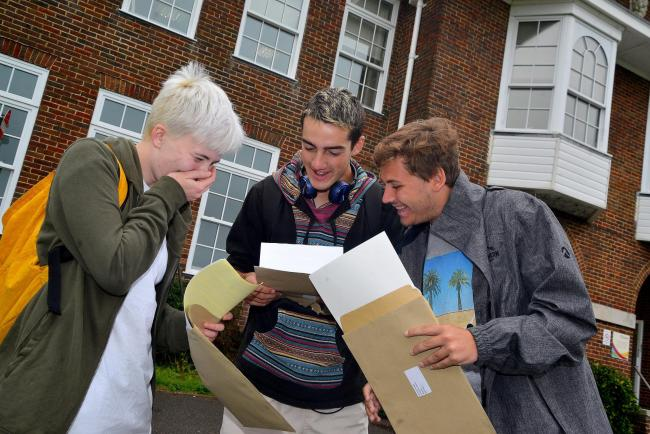 Varndean students Arthur Mars, 19, Jude Hill, 18, and Ethan Prodger find out their results