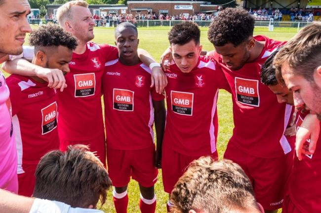 Whitehawk in the huddle before their battling 2-2 draw with Poole. Picture by JJ Waller