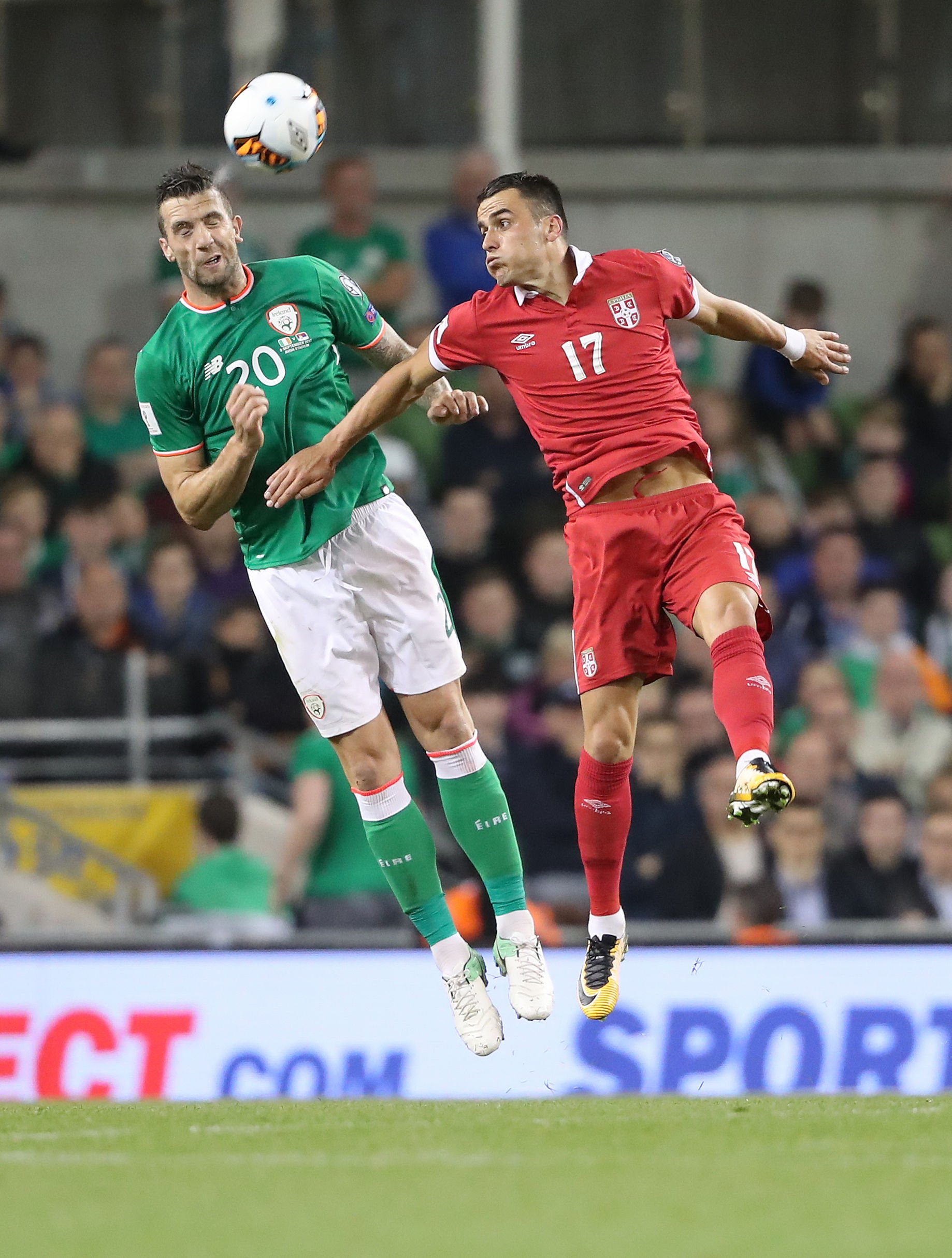 Shane Duffy wins a header for the Republic