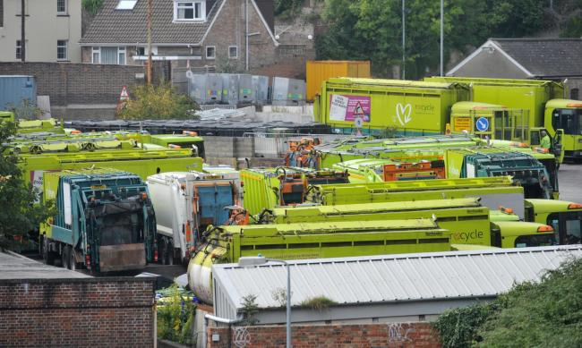 Veolia garbage trucks at the Hollingdean depot during last month's strike. Photographer Tony Wood.