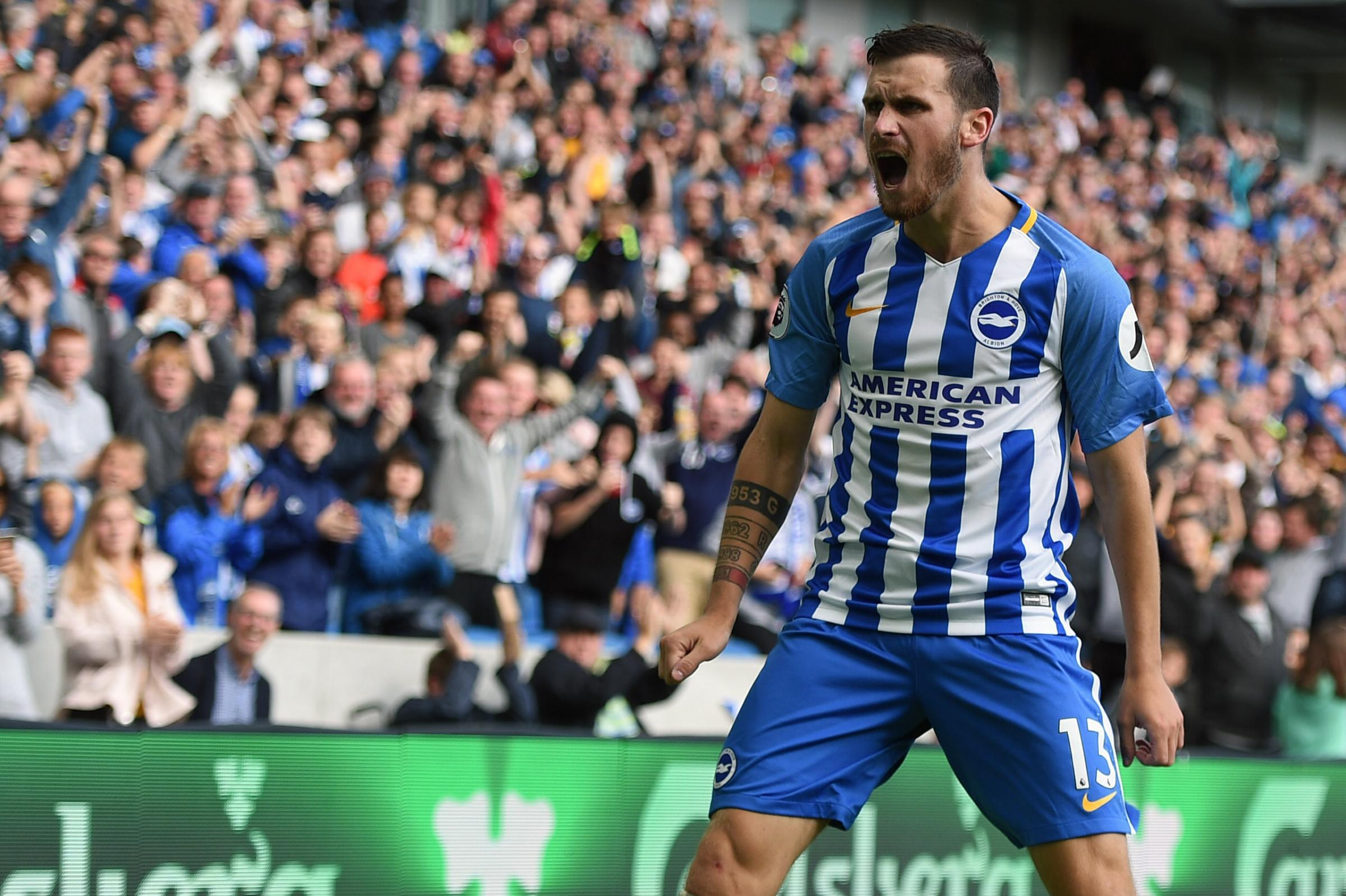 Pascal Gross celebrates his second goal