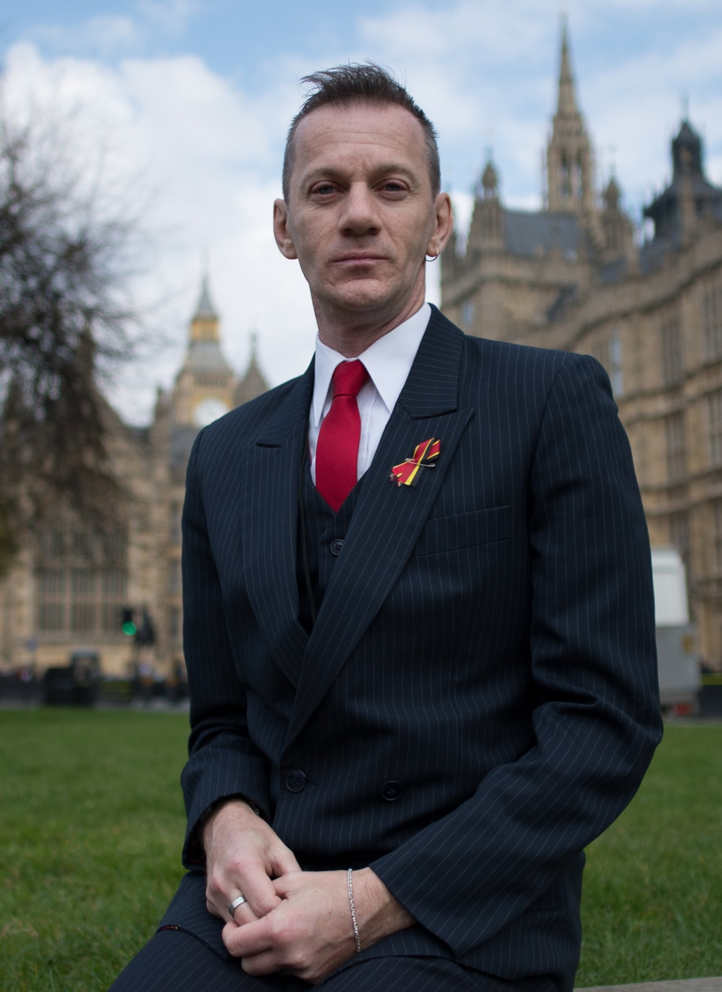 Mark Ward outside the Houses of Parliament in London today and meeting Brighton MP Caroline Lucas. Stefan Rousseau/PA..