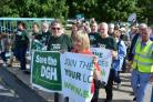 Save the DGH campaigners during a march to save the maternity unit