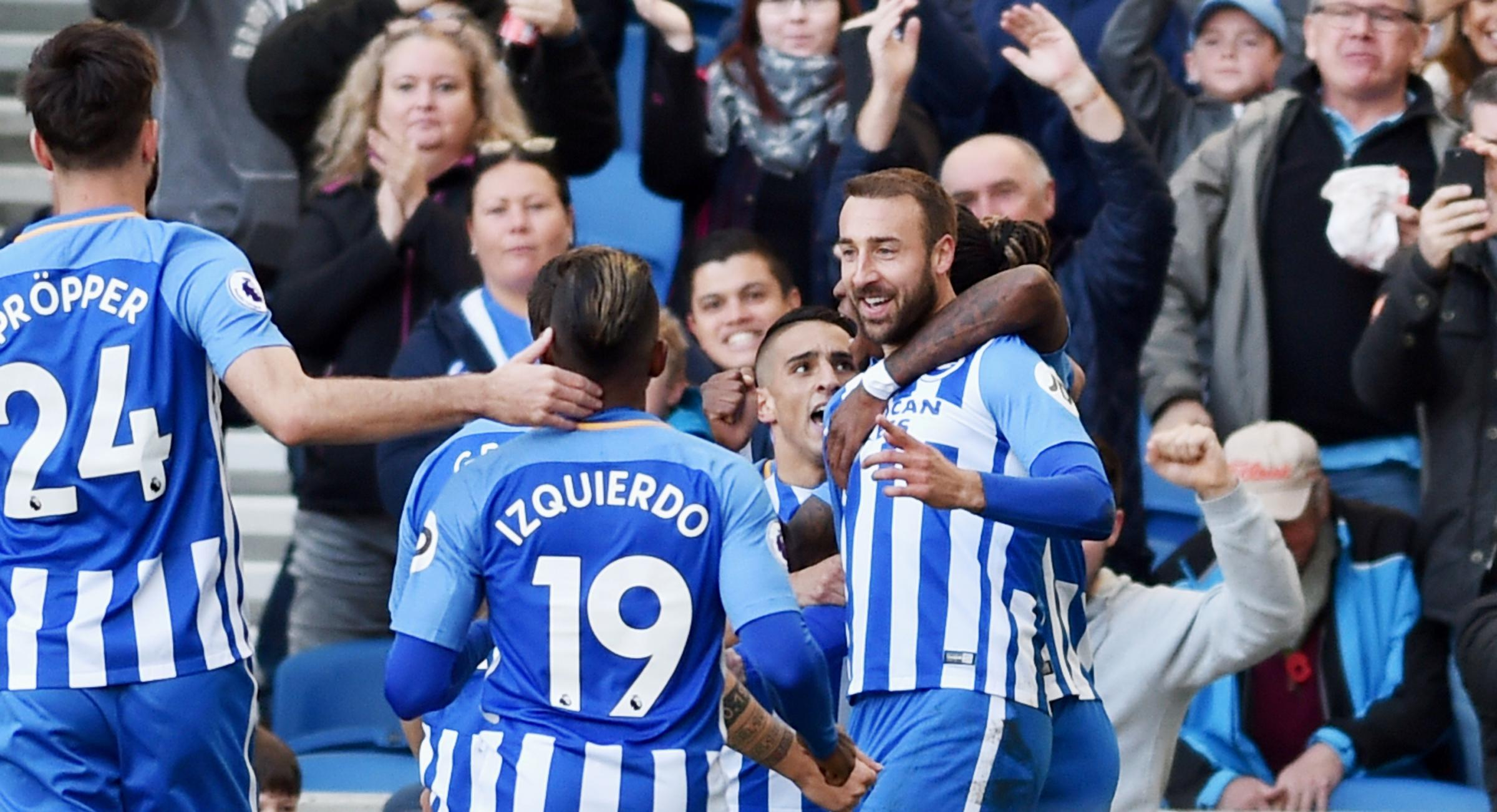 Glenn Murray is congratulated after his goal. Picture by Simon Dack