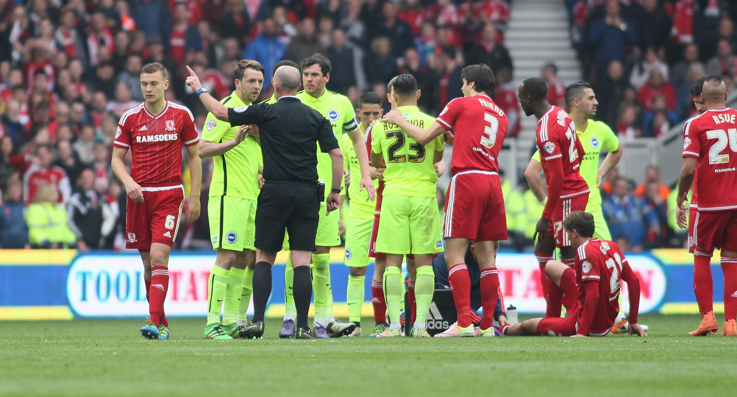 Dale Stephens was sent-off by ref Mike Dean on Albion's last visit to Middlesbrough