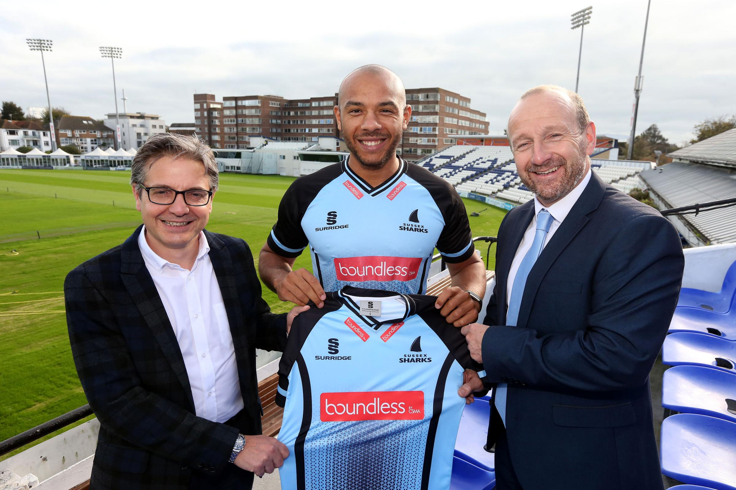 Boundless chief executive Carl Fillery with Sussex's business relationship Tony Cottey and star player Tymal Mills