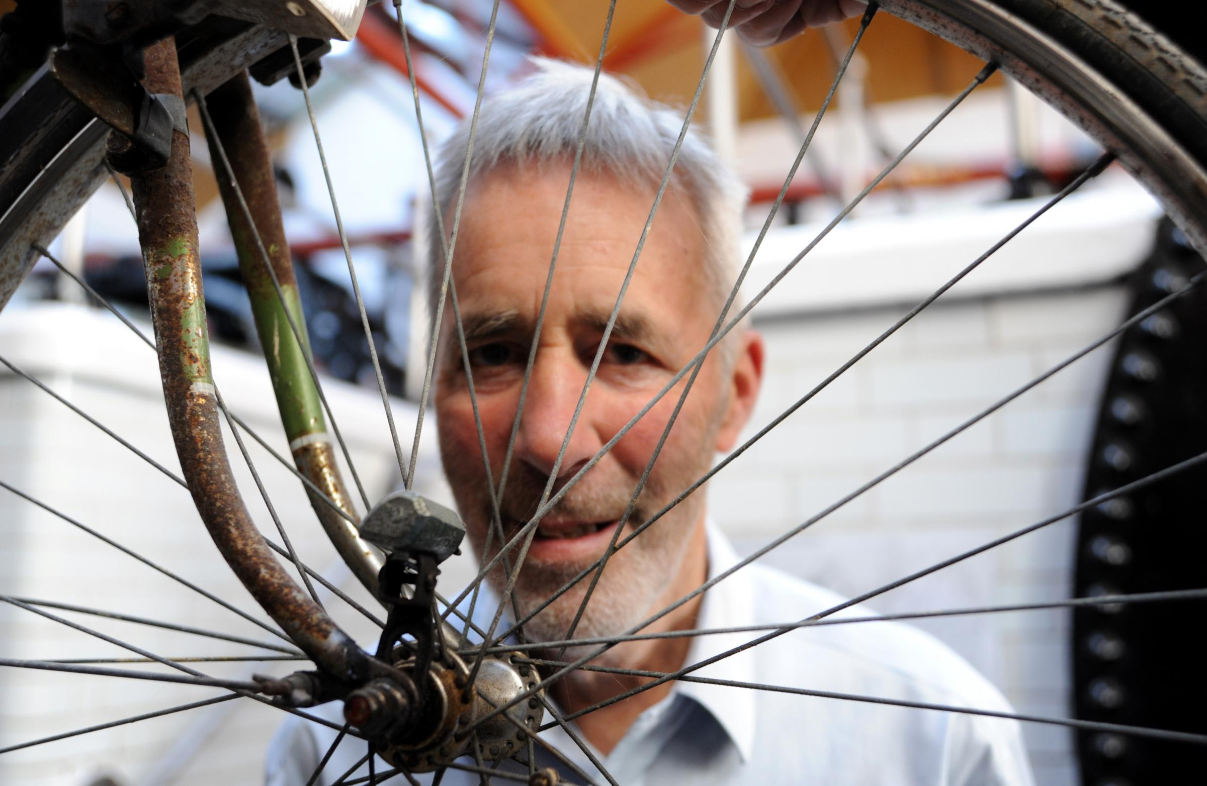 Argus columnist Adam Trimingham with his old bicycle