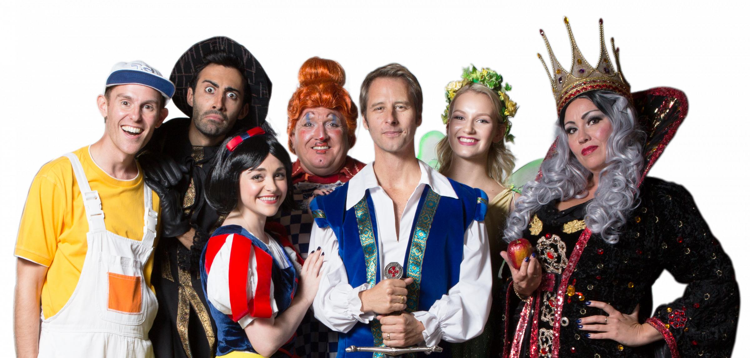 The Snow White cast with Chesney Hawkes at centre