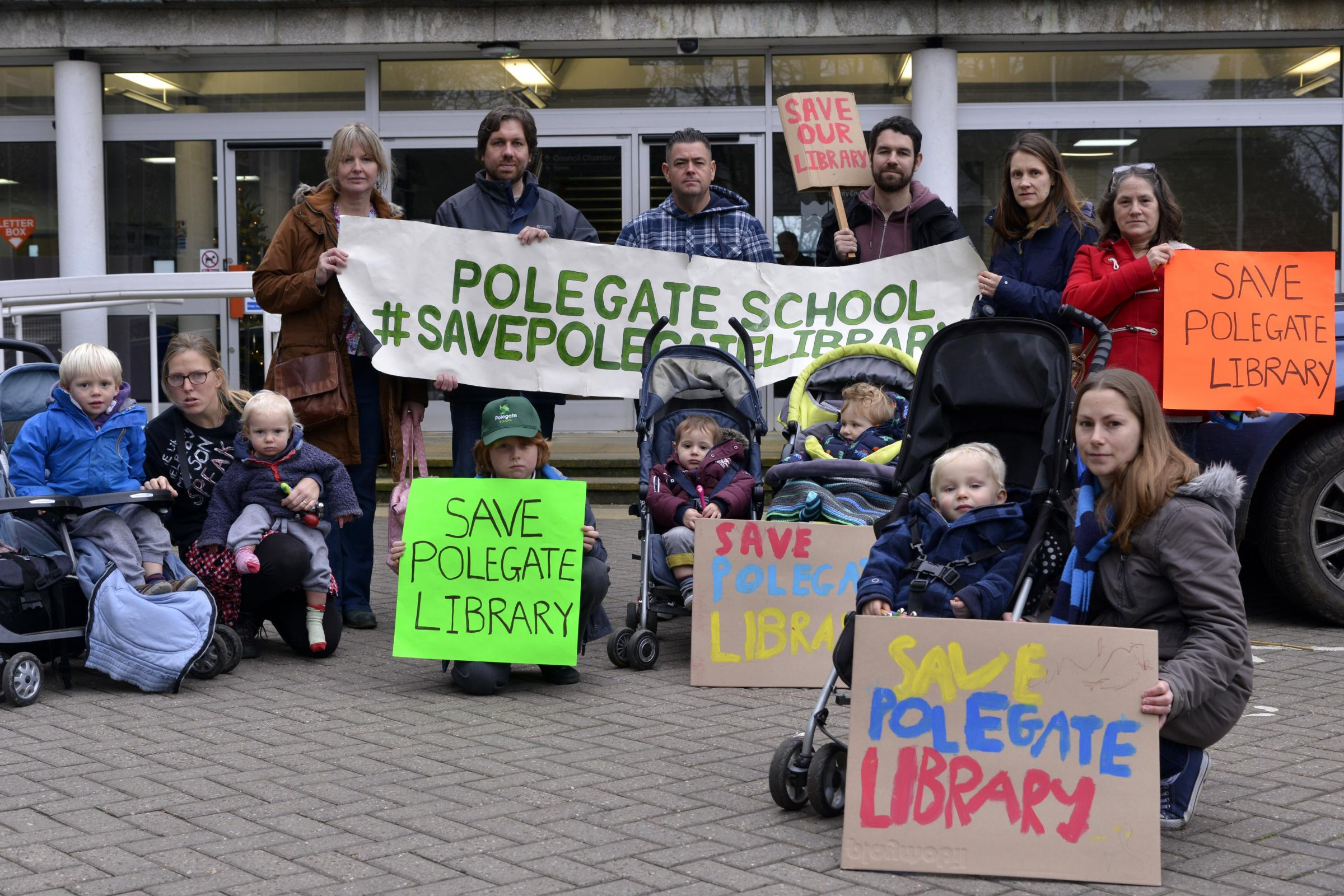 Parents and children, campaign against the closure fo Polegate Library, outside of East Sussex County Council Offices, County Hall, Lewes..