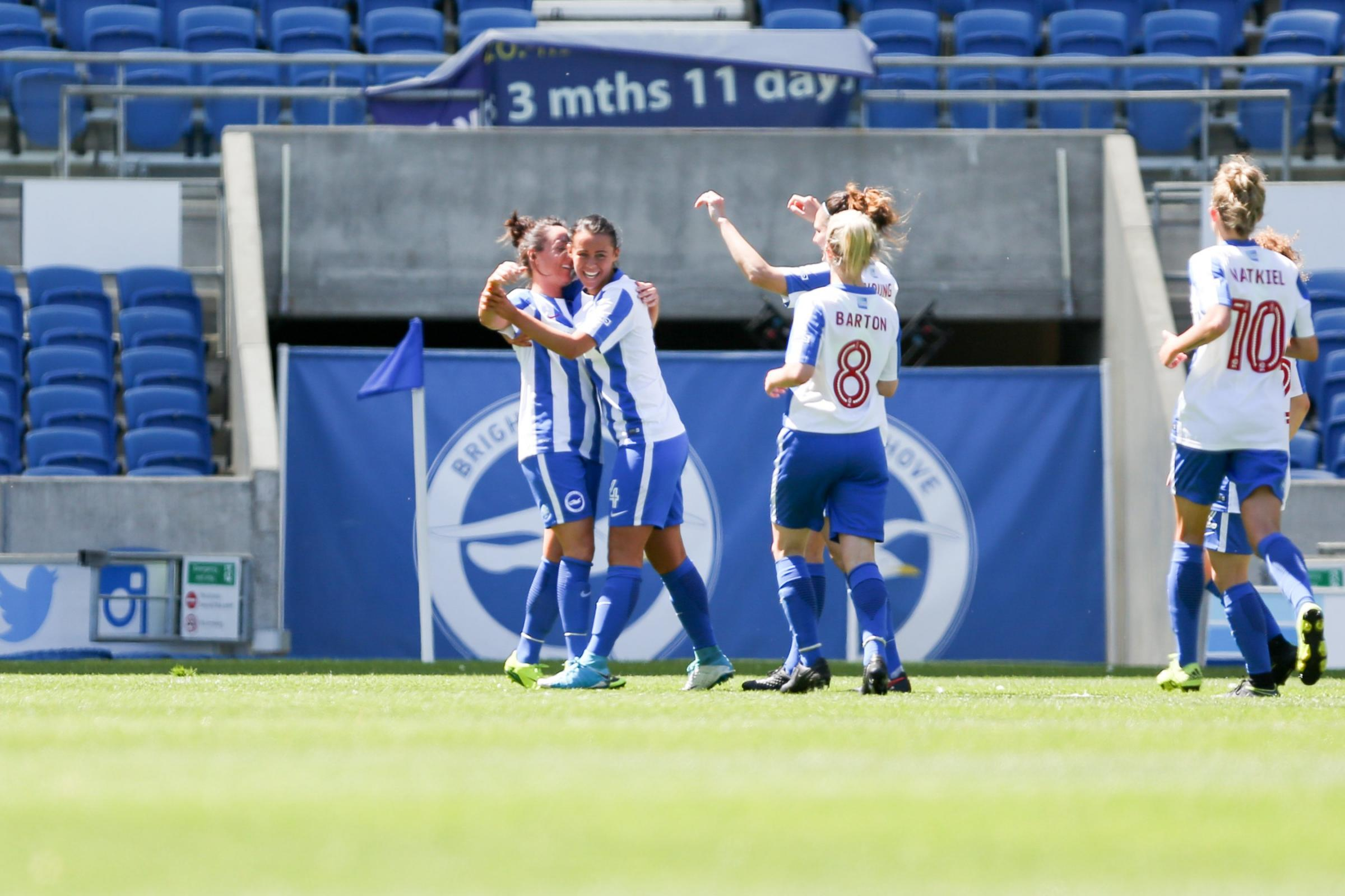 Albion women are celebrating tier one status. Picture: Geoff Penn