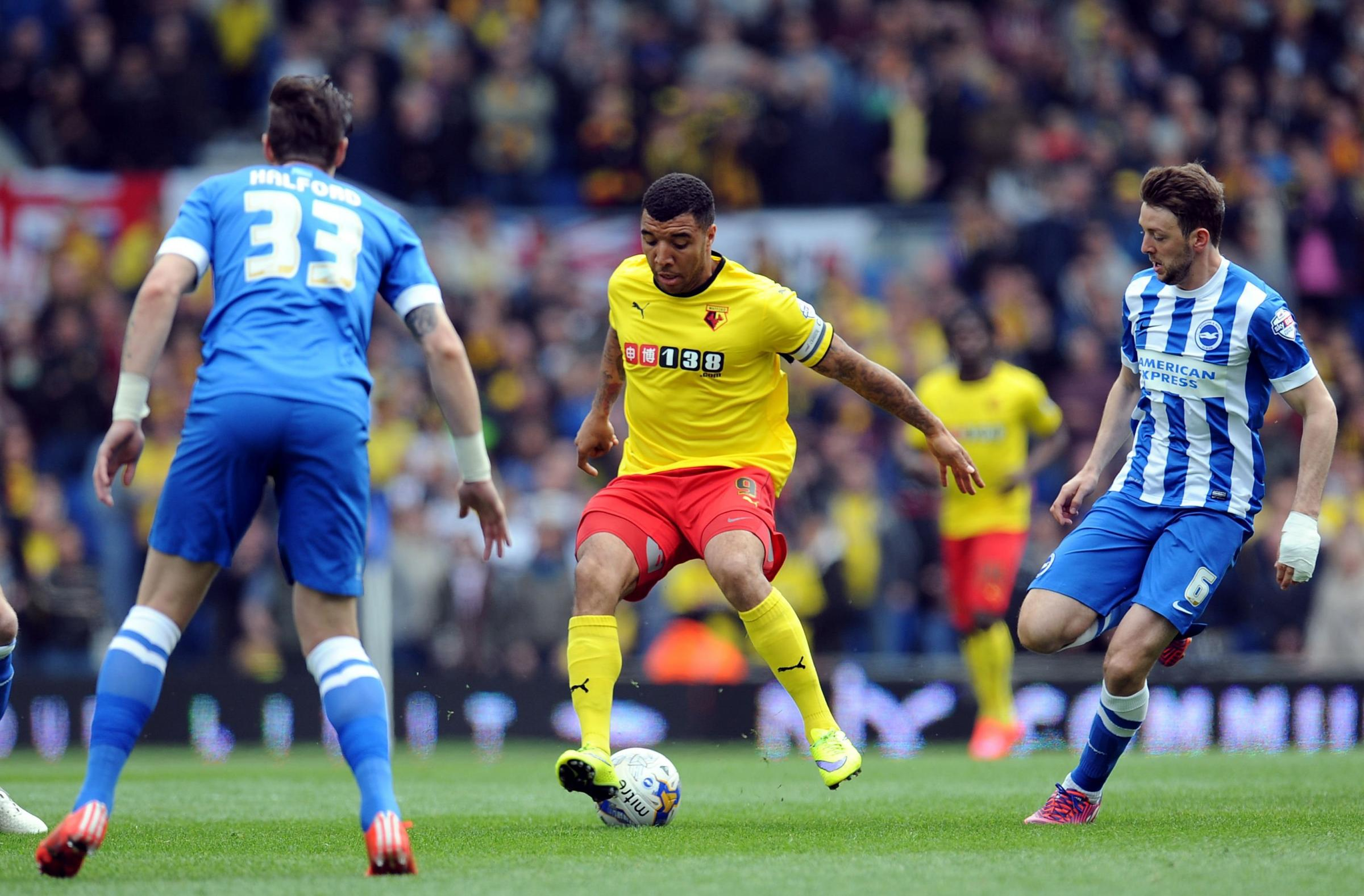 Troy Deeney, playing for Watford at the Amex in April 2015, cannot play for them there on Saturday