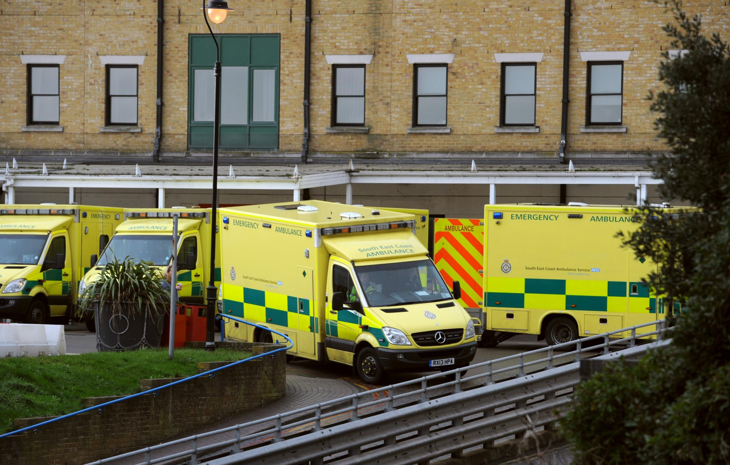 Ambulances outside the Accident and Emergency department of the Royal Sussex County Hospital
