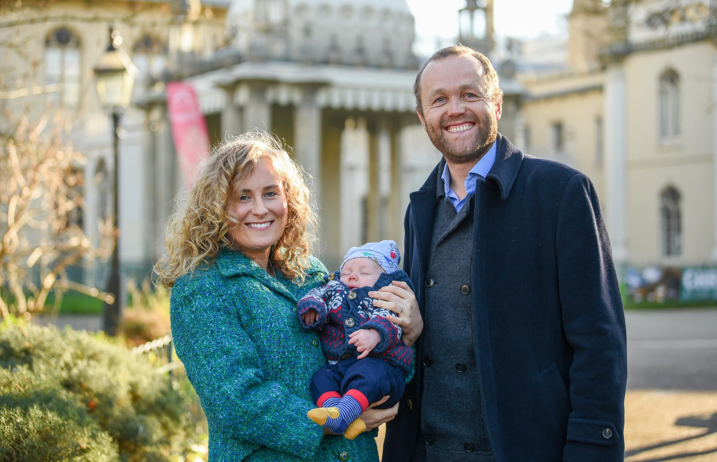 Councillor Alex Phillips, with husband Councillor Tom Druitt and eight-week-old baby Rafi.  Picture: Simon Dack