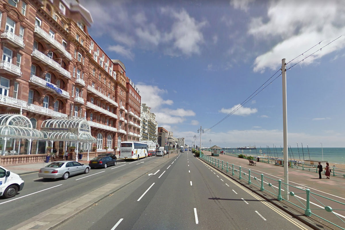 The man was attacked on the upper promenade, Kings Road, Brighton, opposite the Metropole Hotel.  Picture: Google Street View