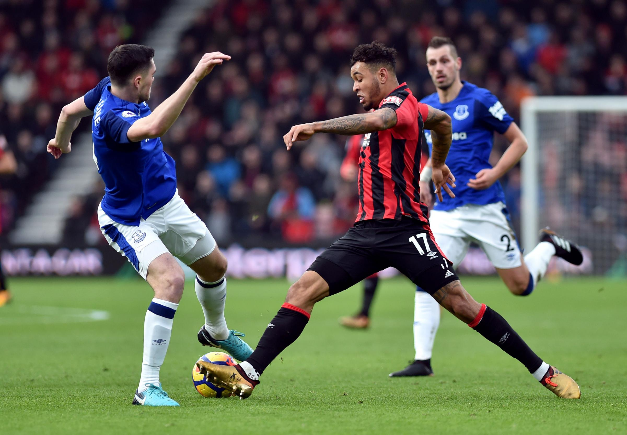 Josh King in action against Everton
