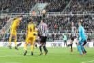 Lewis Dunk tested the keeper with this header at Newcastle. Picture: Richard Parkes