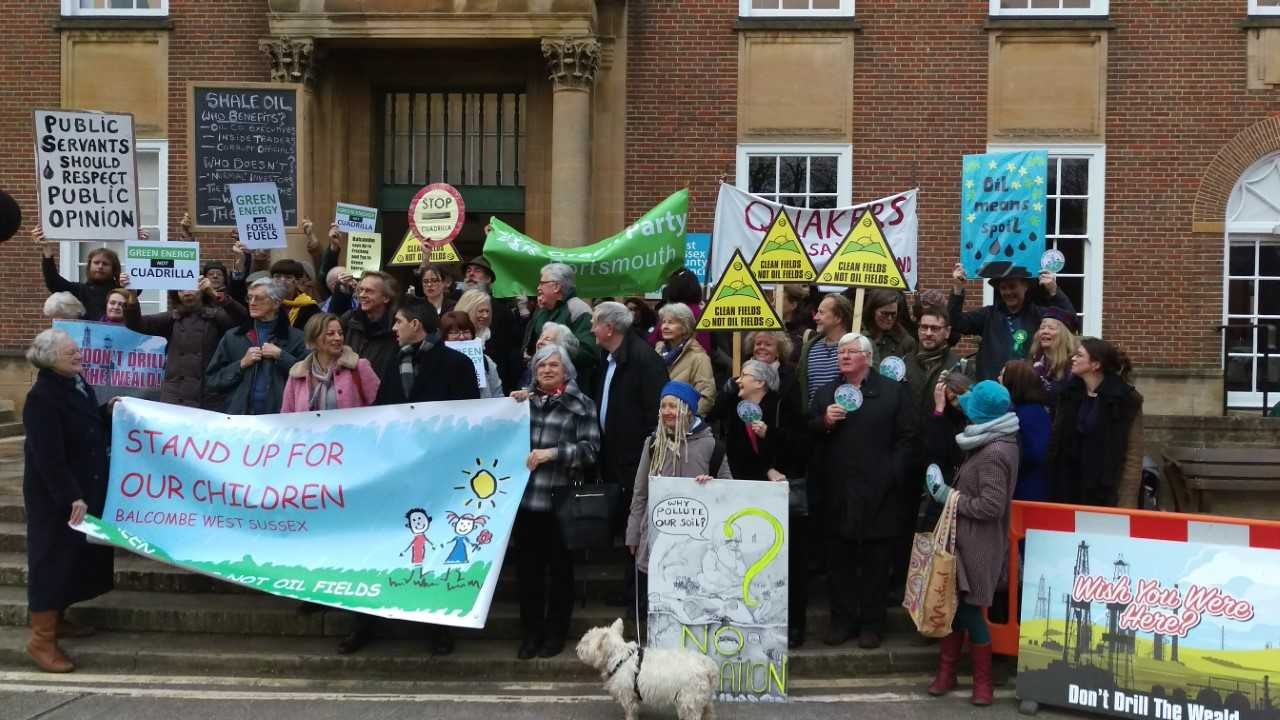 Protesters outside County Hall in Chichester this morning before plans were approved
