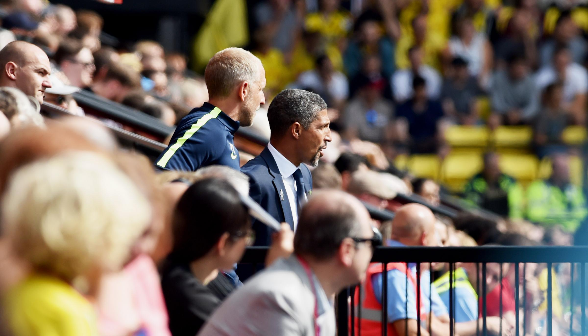 Chris Hughton and assistant Paul Trollope (centre left)