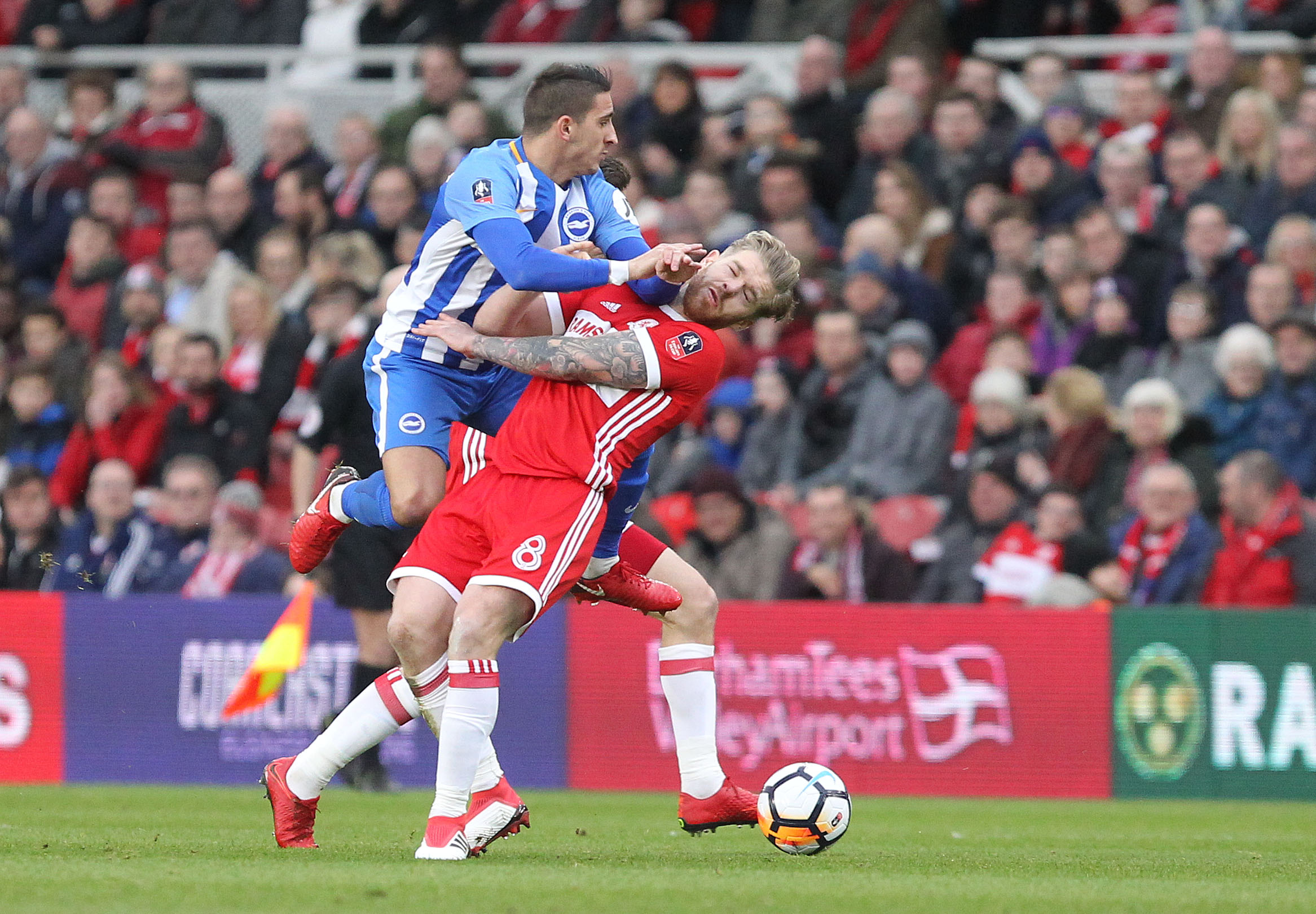 Anthony Knockaert in FA Cup action at Middlesbrough today. Picture Richard Parkes