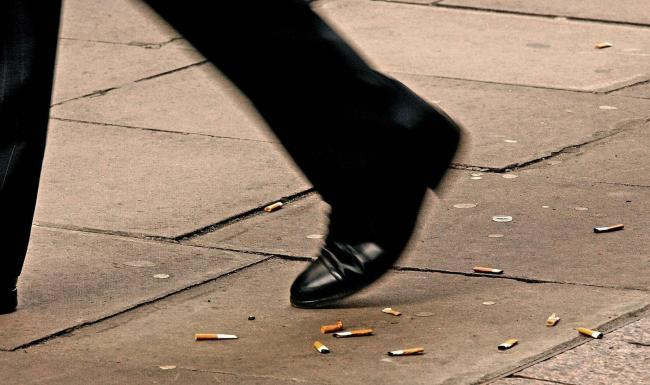 A £75 fine is usually issued for dropping a cigarette butt on the the floor