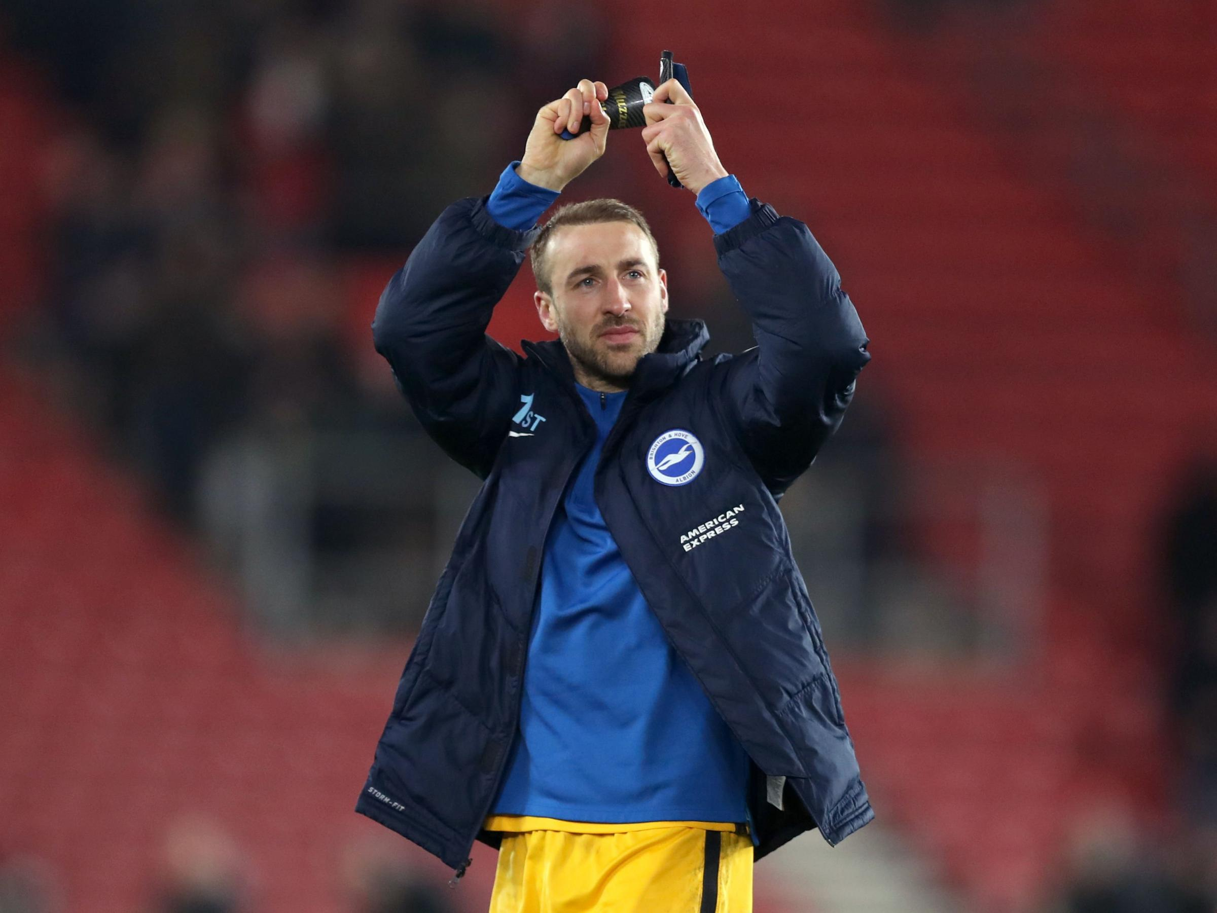 Glenn Murray applauds the Albion fans at Southampton