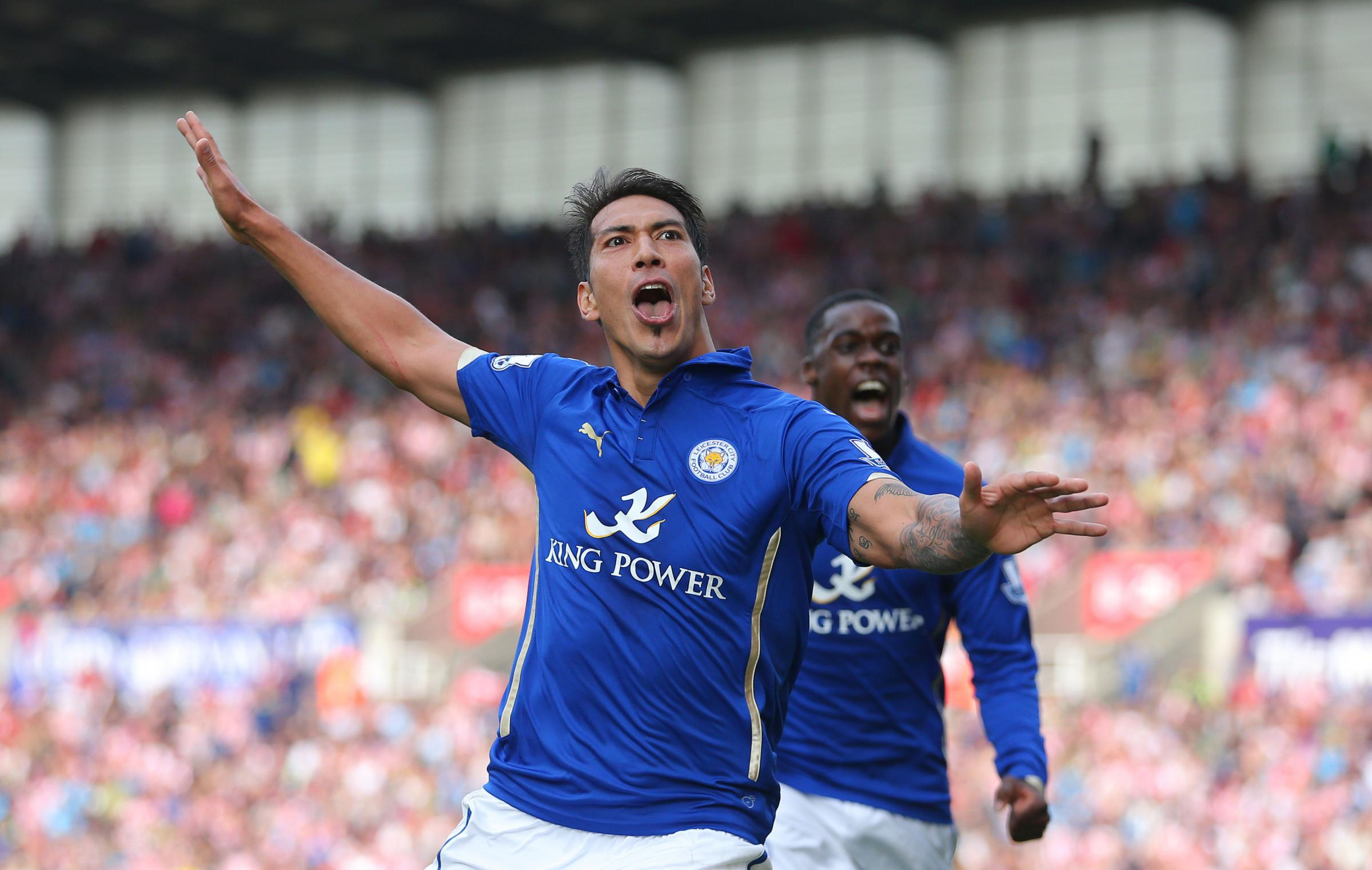 Leo Ulloa celebrates his first away goal for Leicester, at Stoke in 2014