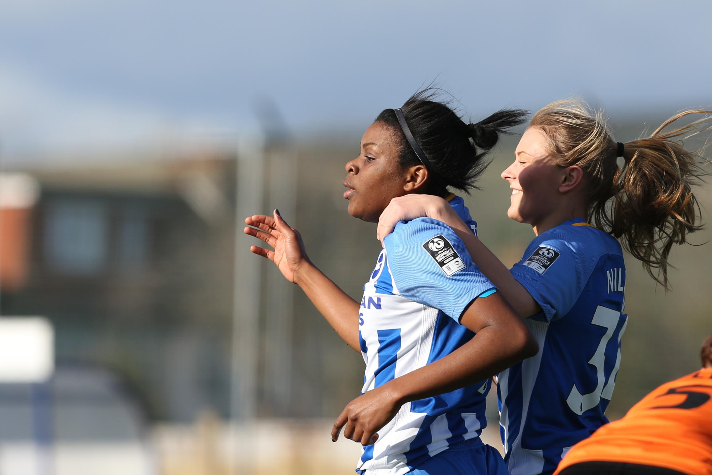 Ini Umotong celebrates a goal for Albion Women. Picture by Geoff Penn/BHAFC