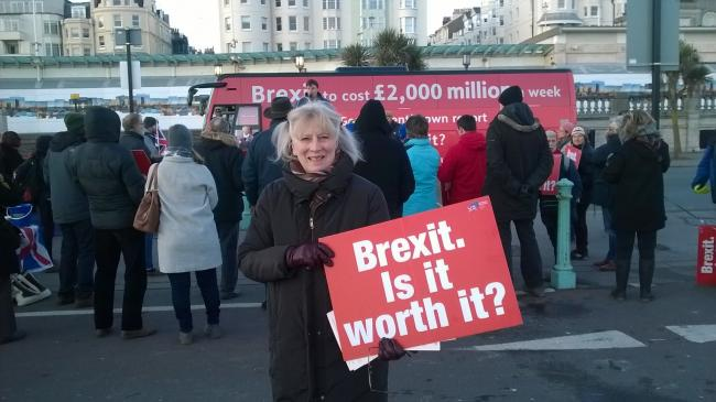Campaigner Valerie Yorke and the anti-Brexit bus on Brighton seafront