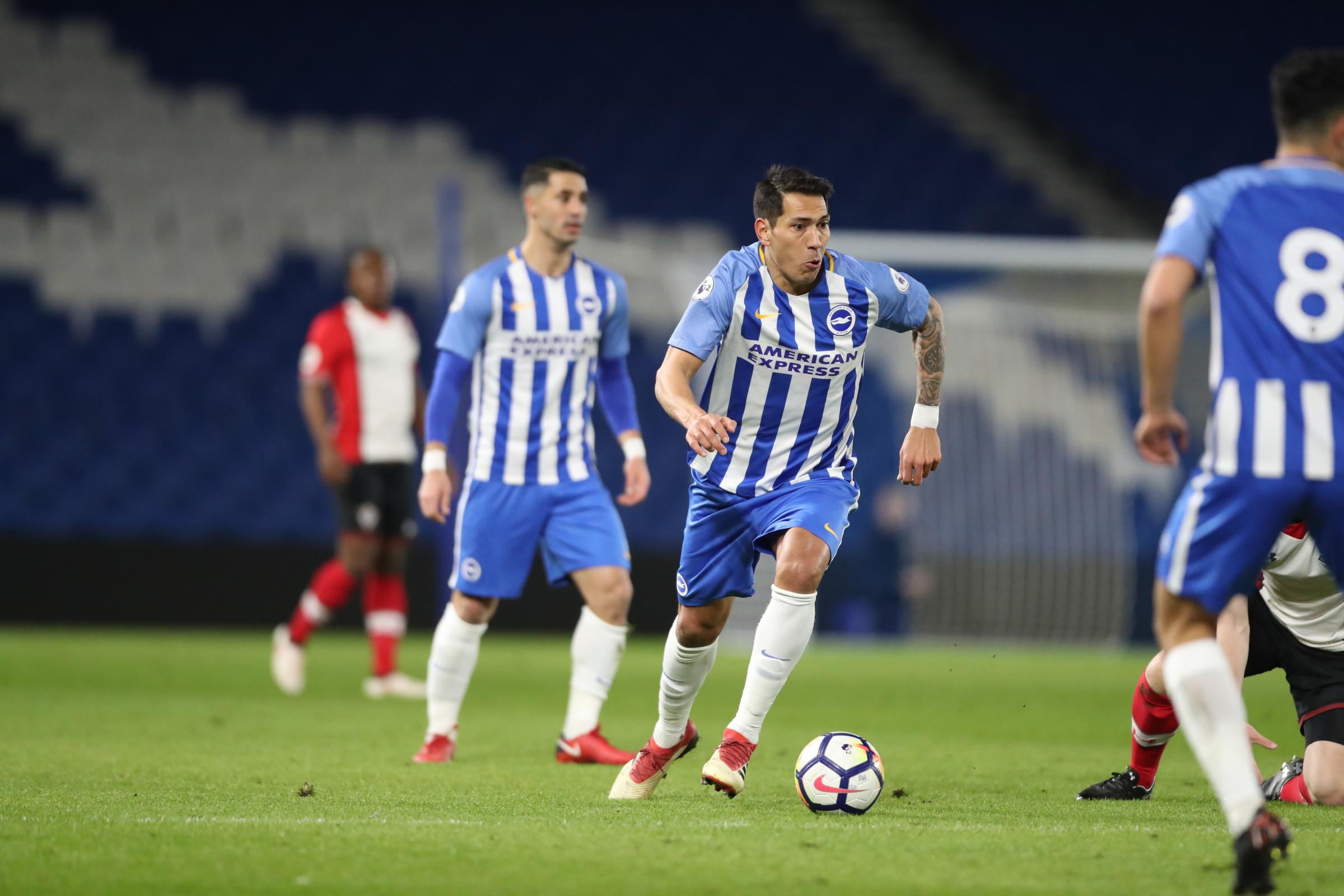 Leo Ulloa in action at the Amex tonight. Picture Paul Hazlewood